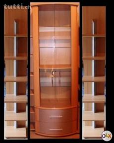 Wohnwand in Buchefurnier mit Aludesign