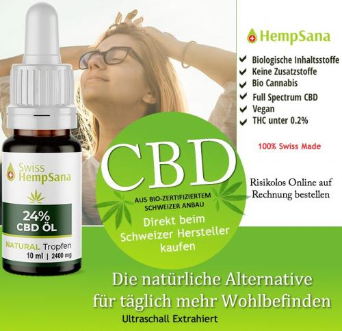 Biologisch natives CBD Öl aus 100% Schweizer Herstellung.